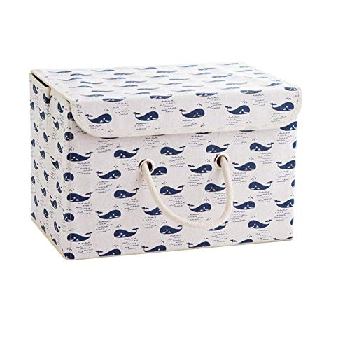 Aufbewahrungskiste Spielzeugkiste Faltbar Aufbewahrungsbox mit Deckel Kinder Spielzeug Organizer Aufbewahrungskorb Korb für Kleidung Faltbox Vorratsbehälter aus Baumwollgewebe (Wal)
