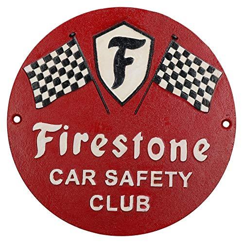 AB Tools Sécurité en Voiture Firestone Fonte Ronde Plaque Sign Garage Boutique Mur