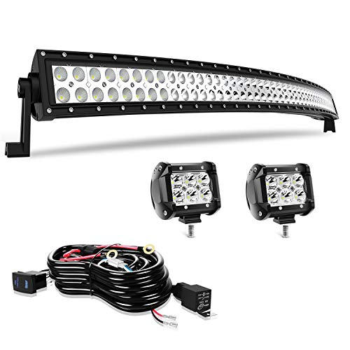 "50"" LED Light Bar T-Former Curved 288W Light Bars Off Road Lights 2Pc 4Inch Led Pods Fog Lights with Rocker Switch Harness Wiring for Trucks Polaris ATV UTV Jeep Boats"