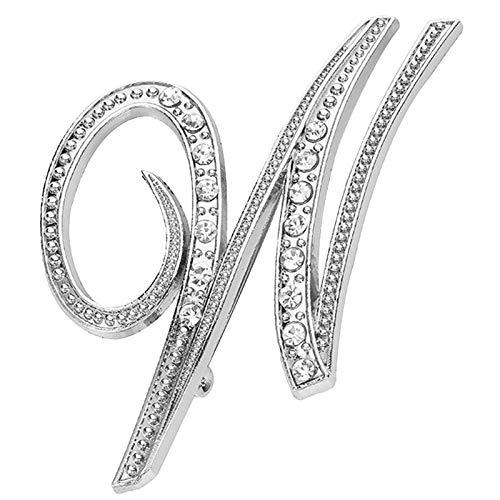 Julhold Broschen Damen Vintage Neues Persönlichkeitsset Mit Diamantbrosche 26 Englische Buchstabenbrosche Schal Clip Kopftuch Schal Schal Brooch Kostümzubehör(W)