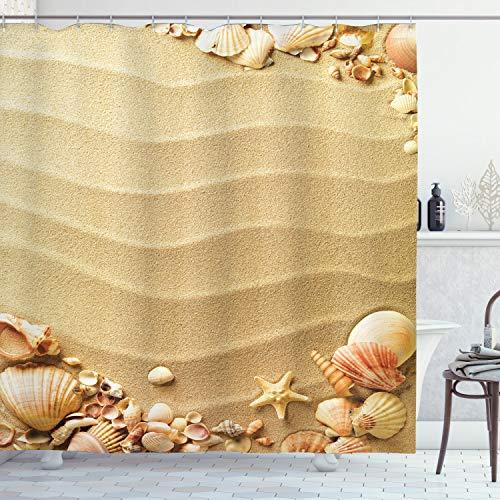 ABAKUHAUS Strand Duschvorhang, Sand mit Muscheln, mit 12 Ringe Set Wasserdicht Stielvoll Modern Farbfest & Schimmel Resistent, 175x240 cm, Sandbraun Korallenrot