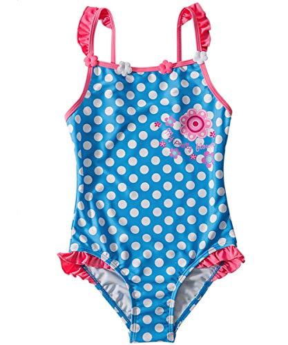 Taigood Mädchen Badeanzug Blumen Bademode Punkt Drucken Einteiler Swimsuit Badeanzüge für Kinder Pink Blau