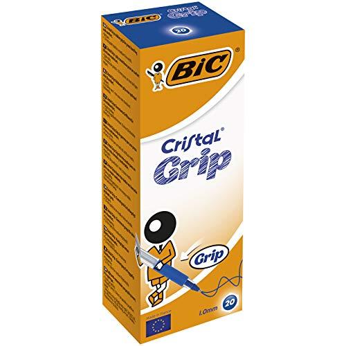 BIC Deutschland Cristal Grip Einweg-Kugelschreiber mit Kappe, Strichstärke 0,4 mm 20er-Schachtel blau