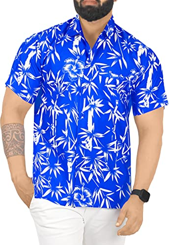 LA LEELA Casual Hawaiana Camisa para Hombre Señores Manga Corta Bolsillo Delantero Surf Palmeras Caballeros Playa Aloha S-(in cms):96-101 Azul_W343