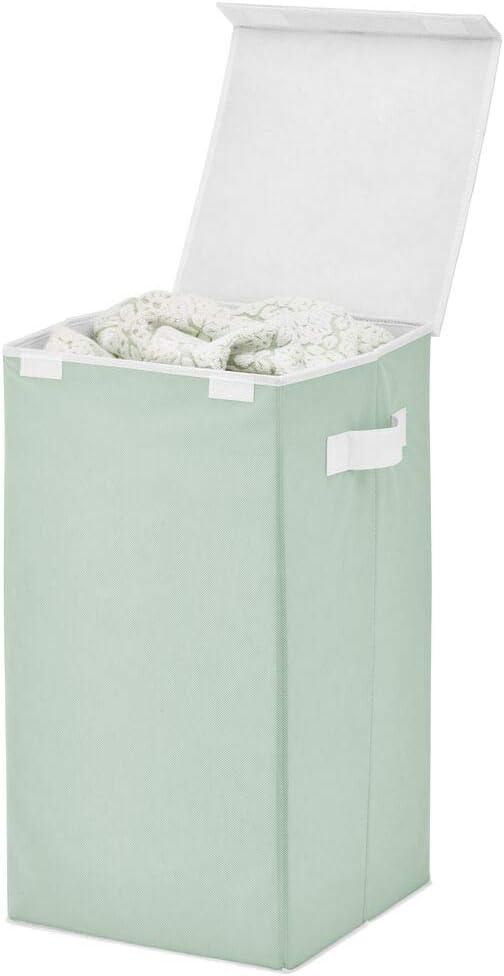 mDesign Cesto para Ropa Sucia de Fibra sintética Transpirable – Cubo para Colada Plegable para lavadero, baño o Dormitorio – Bolsa para Guardar Ropa Sucia con Tapa y Asas – Verde Menta/Blanco