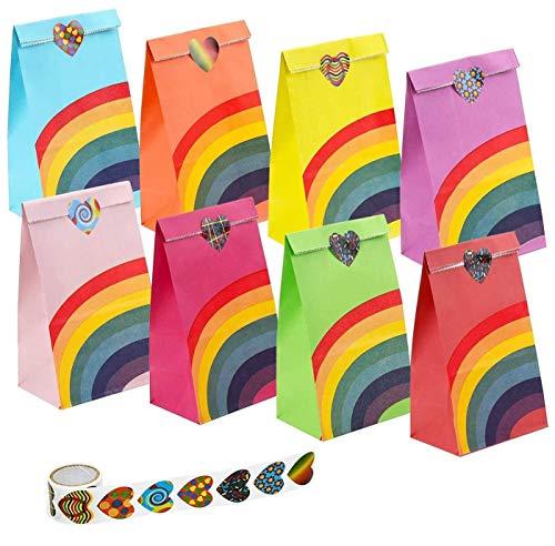 Funny House Geschenktüten Bunt Papier Regenbogen Partytüten Candy Tüten, Papiertüten für Kindergeburtstag Party Geburtstagsparty Hochzeit Weihnachten Ostern mit 100 Aufklebern Kleine(40 Stück)