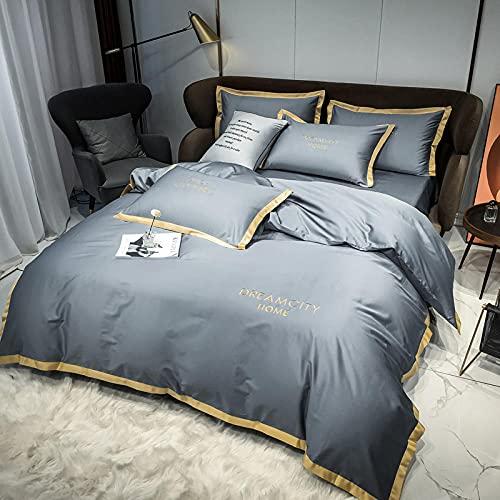 juego de cama de seda,Juego nórdico de cuatro piezas de algodón de fibra larga de color sólido 60S de gama alta, algodón puro, algodón puro, sábana de cama simple, funda de edredón bordada, ropa de c