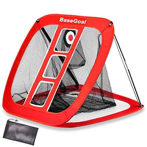 BaseGoal Golf Chipping Net Golfing Target Net Portable Pop Up Collapsible Practice Swing Net Outdoor/Indoor,Golf Tee.Golf Bag