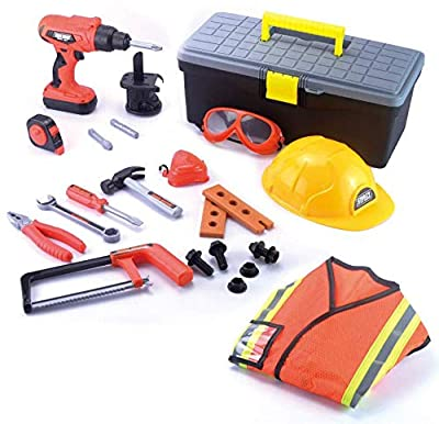 JOYIN Construction Worker Costume Role Play Tool Toys Set with Toll Box for 3 - 6 Years Old Kids, Great Educational Toy Gift for Halloween Christmas and Birthday