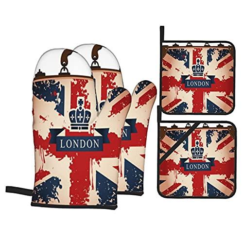 Set 4 guanti da forno e presina,Valigia da viaggio vintage con bandiera britannica Londra nastro e immagine della corona da forno Bak,utilizzato per cucinare,cuocere al forno e grigliare
