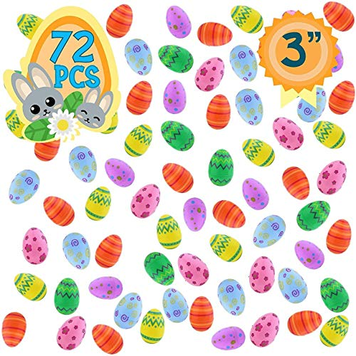Totem World 72 Plastic Fillable Easter Eggs With Pattern Prints - Ready To Fill And Hide - Save Money With These Reusable Easter Eggs - Perfect For Easter Baskets, Party Favors, And Easter Egg Hunts