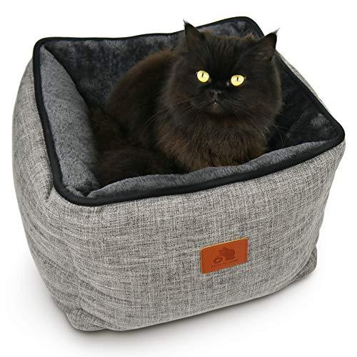SCHLITZOHR Katzenbett Timmy eckig | waschbares Bettchen für Katzen & Hunde in edlem grau | inklusive extra gemütlichem Wendekissen