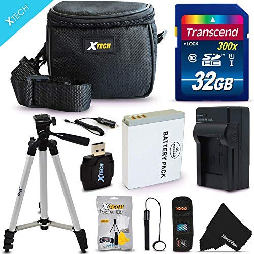 """Ultimate 20 Piece Accessory Kit for Nikon Coolpix AW130, AW120, AW110, P340, S9700, P330, S9500, S9300, S9100, S8200, S8100, S8000, S6300, S6200, S6150, S6100, S6000, S1000pj, S1100pj, S1200pj, AW100, S800c, S610, S610c, S620, S630, S640, S70, S31, S710, P310, P300 Digital Cameras Includes: 32GB High Speed Memory Card + 1 High Capacity EN-EL12 / ENEL12 Lithium-ion Battery with Quick AC/DC Charger + 60"""" Inch Full Size Tripod + a Water Resistant Padded Case + Universal Card Reader + Flexible Mini Table Tripod + Memory Case Wallet Holder + Screen Protectors + Deluxe Cleaning Kit + Lens Cap Keeper + Ultra Fine HeroFiber Cleaning Cloth"""
