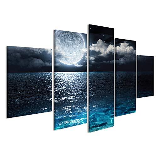 islandburner Bild Bilder auf Leinwand Mond über Meer Poster, Leinwandbild, Wandbilder