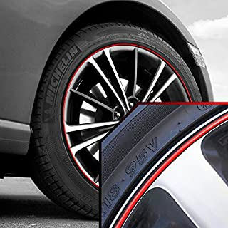 Upgrade Your Auto Wheel Bands Red in Black Pinstripe Rim Edge Trim for Toyota Tacoma