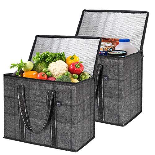Veno Isolierte, wiederverwendbare Einkaufstasche für Lebensmittel, langlebig, robust, groß, steht aufrecht, zusammenklappbar, robuster Reißverschluss, hergestellt aus recyceltem Material
