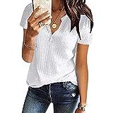 CHAOEN Damen Bluse Kurzarm Oberteile Tshirt V-Ausschnitte Sommershirts Mode Lose Damenblusen Shirt Waffel Strick Elegante Hemdbluse T-Shirt