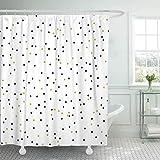 JOOCAR Cortina de ducha de diseño, diseño de lunares, color dorado y negro sólido sobre blanco, dibujo animado de bebé, tela impermeable de tela para baño con ganchos
