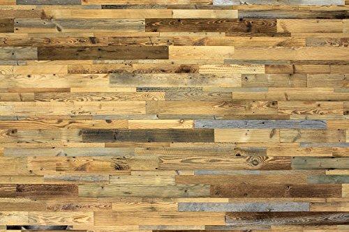 wodewa Wandverkleidung aus Holz Altholz sonnenverbrannt 1m² Echtholz Wandpaneele Holzwand - 3