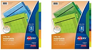 Avery Big Tab Insertable Plastic Dividers, 5 Multicolor Tabs, 1 Set (11900) and Avery Big Tab Insertable Plastic Dividers, Multicolor, 1 Set of 8 Tabs (11901) Bundle