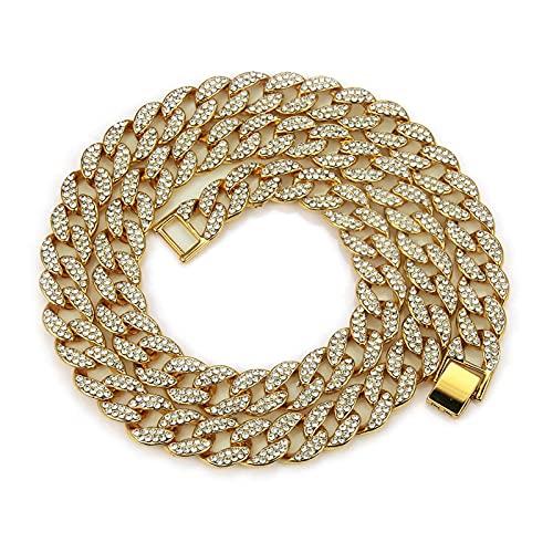 YHQKJ Hombre Hip Hop Miami Cuba Cadena de Enlace Collar de Gargantilla, Collar de Acero Inoxidable Cadena con Hielo, Colgante de joyería, para Ropa de Calle Urbana (Color : Gold, Size : 24inch)