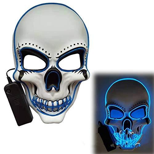 ACHICOO LED Halloween Scary Glow Skeleton Maske Cosplay Party Kostümzubehör Blau