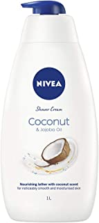 NIVEA Indulgent Moisture Shower Cream Coconut (1L), Moisturising Shower Gel with Jojoba Oil