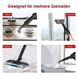 SIMBR Steam Dampfreiniger mit Bügeleisen Wischmop Dampfmop, mit 13 Zubehörs, Keine Saugfunktion, Reinigung für Boden/Fenster/Teppiche/Couch/fliesen/polster/polstermöbel/laminat