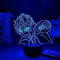 アニメペルズ5キッズベッドルームの装飾夜ライト誕生日ギフトマンガルームデスクLEDライトペルソナ5 3Dランプ-リモコン