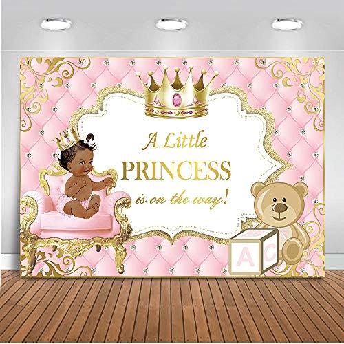 Mehofoto - Tela de fondo para bebé, 7 x 5 cm, piel oscura, para fiestas de bebé, decoración de pancartas con una pequeña princesa en el camino de fotografía