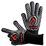 ICCKER Grill Gloves - 1112°F (600°C) Extremely Heat Resistant BBQ Gloves, 14'(36CM) Grilling Cooking Gloves, Premium Insulated & Anti-Slip Aramid Oven Mitts, 1 Pair