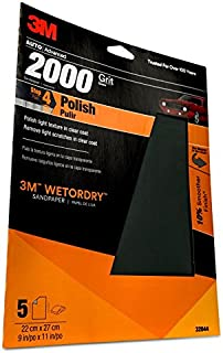 3M 2000 Grit Imperial Wetordry Sandpaper Sheet, 9in x 11 in, Pack of 5
