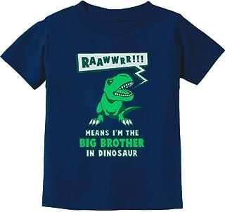 Tstars Big Brother in Dinosaur Trex Big Brother Gift Toddler/Infant Kids T-Shirt 3T Navy