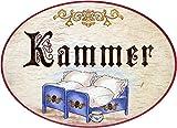 """Kaltner Präsente - Placa decorativa de madera para puerta, de diseño antiguo, cartel decorativo para dormitorio, con texto en alemán """"Kammer� (18 cm de diámetro)"""