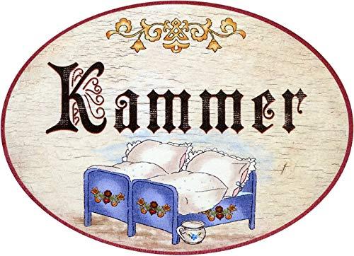 Kaltner Präsente - Targhetta decorativa per porta in stile anticato con illustrazione camera da letto (diametro Ø 18 cm)