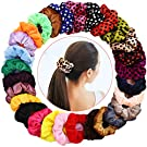 28 Pcs Hair Scrunchies Velvet Elastic Hair Bands Scrunchy Hair Ties Ropes Scrunchie for Women or Girls Hair Accessories - Including 8 Colors with dot pattern and 20 Solid Colors Scrunchies