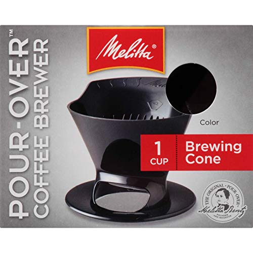 Melitta Filter Coffee Maker, Single Cup Pour-Over Brewer, Black, 1 Count
