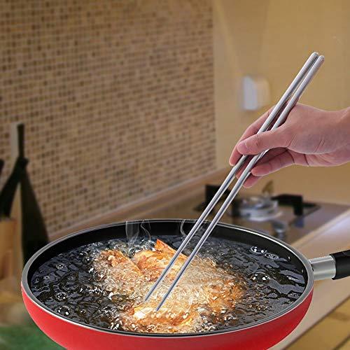 1 paio di bacchette da cucina da 38 cm in acciaio inox, pentole calde da cucina, non tossiche, anti-scottature, per ristorante argentato, extra lunghe (38 cm)
