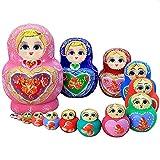 zdz Matryoshka Hecha a Mano de Alta Gama, Juego de Juguetes para niños de 4,5 Pulgadas de 5 muñecas de anidación Rusa, para Navidad, Regalo de cumpleaños (Color : Pink)