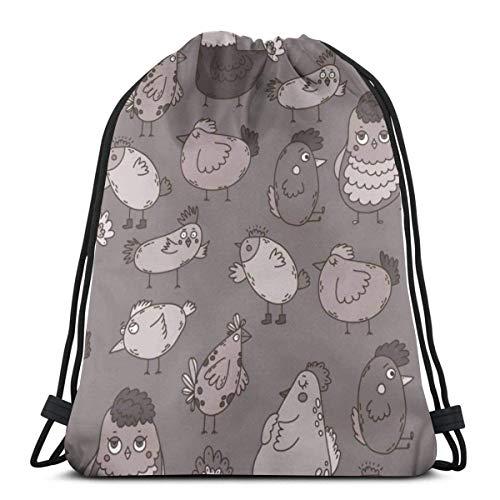 BXBX Trasportare Bags Seamless Pattern With Cute Hand Drawn Birds Draw String Gym Bag Nap Sac Dap Bag Pumps Bag Dap Sac PE Bag Boot Bag