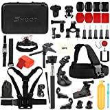 SHOOT 49in1 Accessories Kit with 42.5inch Monopod for GoPro Hero 9 8 HERO7 Black Silver White/6/5/4/3+/3/5 Session/Hero(2018)/Fusion OSMO Action Camera(Waterproof Case,Head Strap)