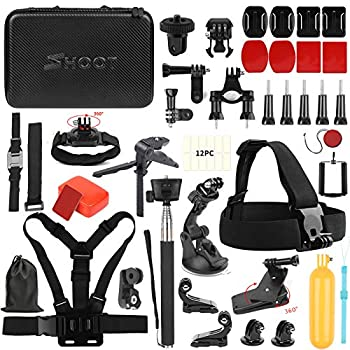 SHOOT 49in1 Accessories Kit with 42.5inch Monopod for GoPro Hero 9 8 HERO7 Black Silver White/6/5/4/3+/3/5 Session/Hero 2018 /Fusion OSMO Action Camera Waterproof Case,Head Strap
