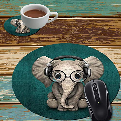 Mouse Pad and Coaster Set, Cute Baby Elephant Mouse Pad Round Non-Slip Rubber Mousepad Office Accessories Desk Decor Mouse Mat for Desktops Computer Laptops