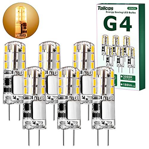 G4 LED Lampen, Birnen 1.5W Warmweiß Led G4 Stiftsockel, AC/DC 12V mit 180LM Warmweiss 3000K, Leuchtmittel G4 Glühbirne Ersatz für 20W Halogen Lampen, Nicht Dimmbar Kein Flackern, 6 Stück