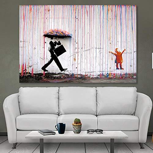 Frameloze schilderij Graffiti olieverfschilderij tijger dier afbeelding voor kamer tijger familie gekleurde paraplu artZGQ2057 50X70cm