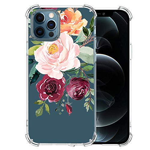 iPhone-12-Pro-Max-Case with Glass Screen Protector, Cute Design Transparent Flower-for-Girls-Women-Best-Protective Slim Fit Clear TPU Soft Silicone Cover Phone Case for iPhone 12 Pro Max Pro Max (8)
