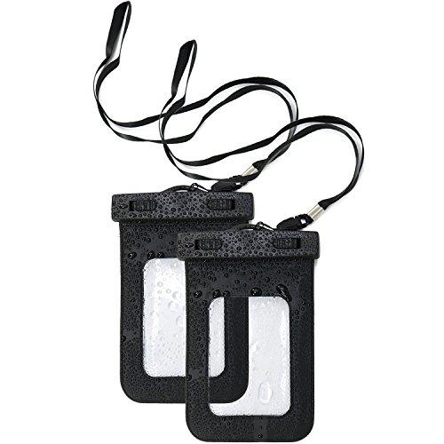 COM-FOUR® 2x waterdichte mobiele telefoonhoes - stofdichte hoes voor smartphone - mobiele telefoonhoes in zwart - 6.5