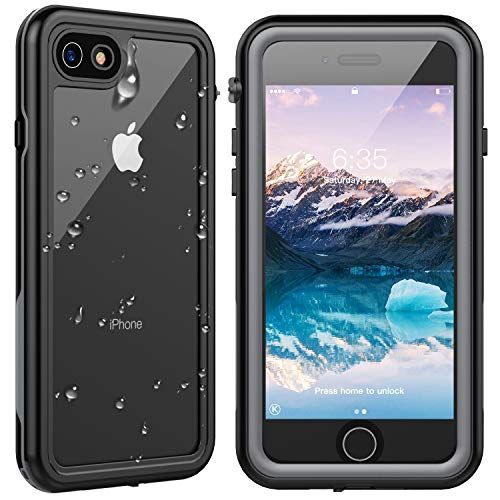 SPIDERCASE for iPhone SE 2020 Case/iPhone 8/7 Waterproof Case, Built-in Screen Protector Full Rugged Protective Case, Shockproof Dirtproof Snowproof, Case for iPhone SE 2020/8/7, 4.7 Inch(Grey+Clear)