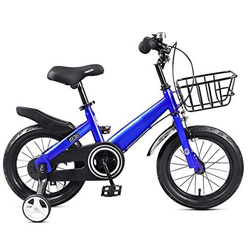 YummeIge Freestyle Kinderfiets, met loopfiets, schokdempers, slijtvast, banden voor kleine meisjes, fiets voor kinderen 12 14 en 16 inch, 2-8 jaar 14in Blauw