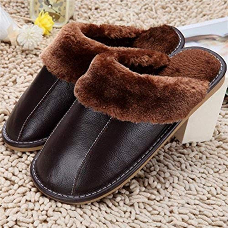 GouuooHi GouuooHi GouuooHi män Slipper Män's Casual Cotton Slipper s Warm in Autumn and Winter Solid Färg Simple Style Classic Wild Comfortable läder Slipper s  upp till 65% rabatt